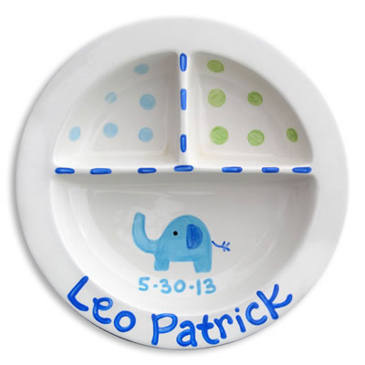 Personalized Elephant Baby Birth Plate