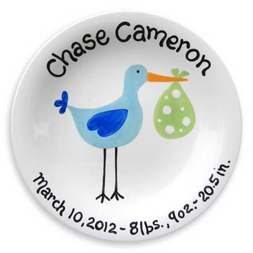 Personalized 'Just Arrived' Stork Plate for Boy
