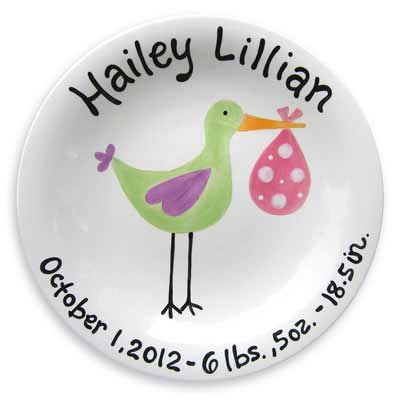 Personalized 'Just Arrived' Stork Plate for Girl