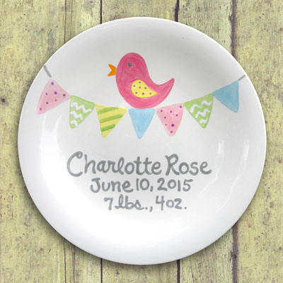 Personalized Tiny Tweet (Bird) Child Birth Plate_LARGE