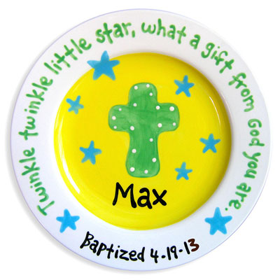 Personalized Child Plate - Cross - Yellow/Blue Stars