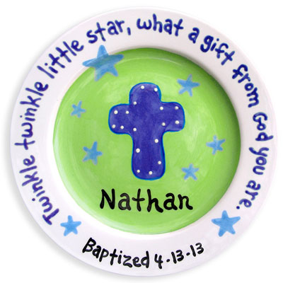 Personalized Child Plate - Cross - Green/Blue Stars