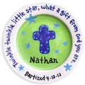Personalized Child Plate - Cross - Green/Blue Stars THUMBNAIL