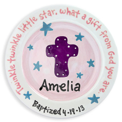 Personalized Child Plate - Cross - Pink/Blue Stars