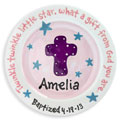 Personalized Child Plate - Cross - Pink/Blue Stars_THUMBNAIL