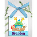 Personalized Christmas Ornament - Noah's Ark - Blue