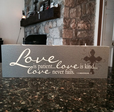Elements of Faith Candle - 13x4 - Love is patient… love is kind…