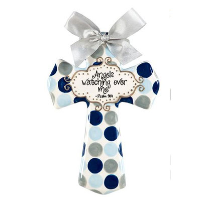 "'Angels watching over me' Blue and Grey Polka Dot 8"" Cross"