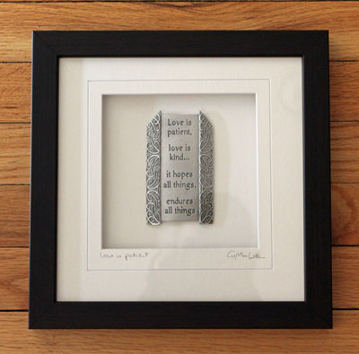 """Love is Patient"" Cynthia Webb Framed Pewter Ornament_LARGE"