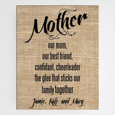 Personalized Mother Canvas Wall Sign LARGE