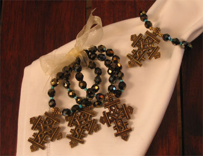 Crystal/Turquoise with Bronzed Cross Napkin Rings_LARGE