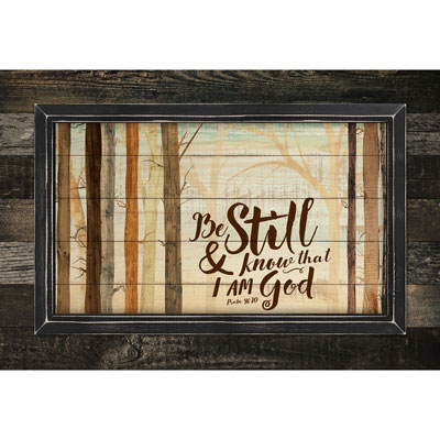 Christian Wall Art - Be Still and Know That I Am God - Framed Pallet Art