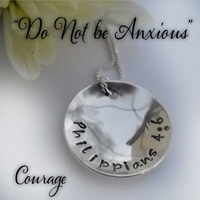"Philippians 4:6 Sterling Silver Necklace ""COURAGE"""