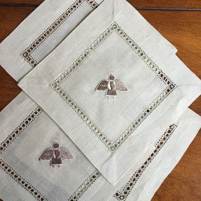 Taupe Beverage Napkins (Brown & Pink) - Set of Four LARGE