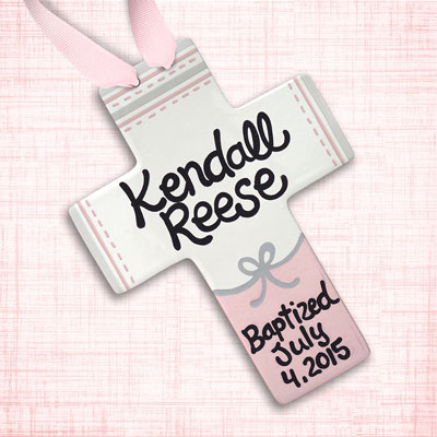"Personalized Grey & Pink Ribbon Baby Baptism Cross - 10"" LARGE"