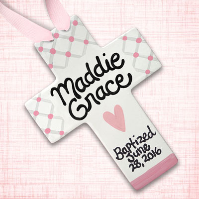 Personalized Pink Heart Baby Baptism Wall Cross - 10""
