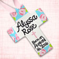 "Personalized Rose Baby 10"" Cross with Pink Cross and Ribbon"