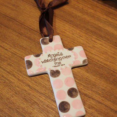 'Angels watching over me' Pink and Brown Wall Cross