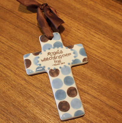 'Angels watching over me' Blue and Brown Wall Cross LARGE