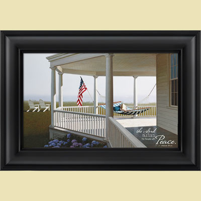 Christian Framed Art - Morning - Psalm 29:11 LARGE