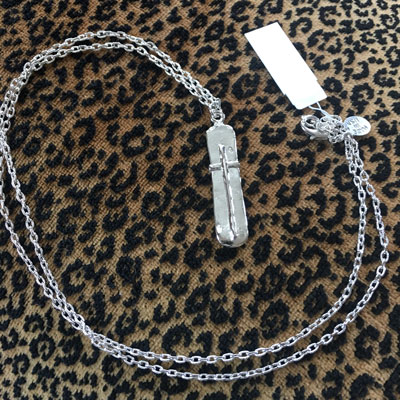 "Silver Bar With Cross on 30"" Chain LARGE"