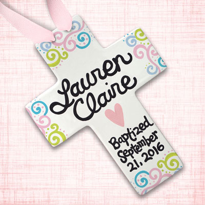 "Personalized Squiggly Baby Baptism Cross - 10"" LARGE"