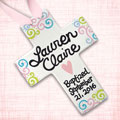 "Personalized Squiggly Baby Baptism Cross - 10"" THUMBNAIL"