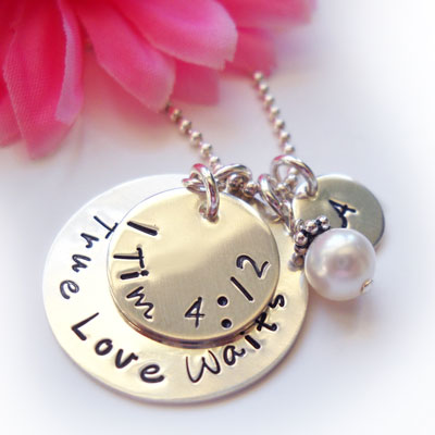 True Love Waits Necklace with Initial and Mother of Pearl LARGE