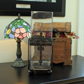 Wrought Iron Tall Square Vase with Cross SWATCH