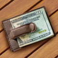 Leatherette Money Clip Wallet - Tan SWATCH