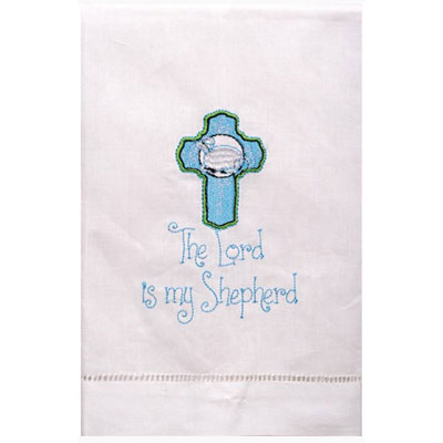 The Lord Is My Shepherd - Embroidered Linen Hand Towel LARGE
