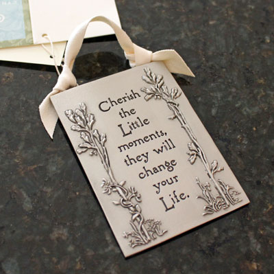 """Cherish the Moments"" Pewter Wall Ornament by Cynthia Webb LARGE"