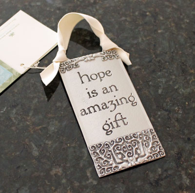 """Hope is an Amazing Gift"" Pewter Wall Ornament by Cynthia Webb LARGE"
