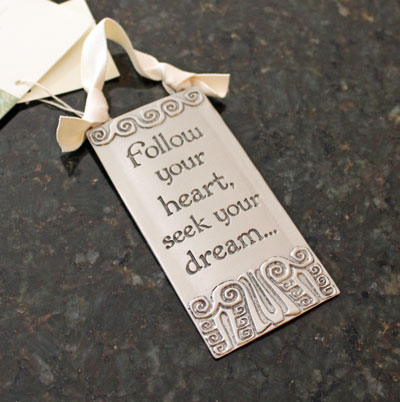 """Follow Your Heart"" Pewter Wall Ornament by Cynthia Webb LARGE"