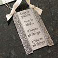 """Love is Patient"" Pewter Wall Ornament by Cynthia Webb THUMBNAIL"