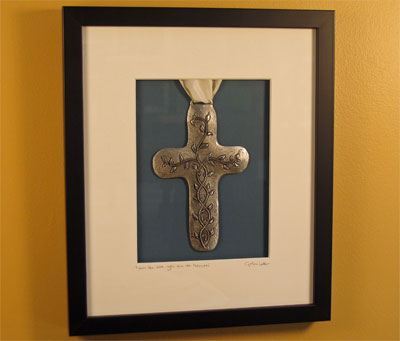 Cynthia Webb Framed Pewter Ornament - Vine Cross