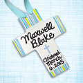 "Personalized Yellow/Blue Striped Baby Baptism Cross - 10"" THUMBNAIL"