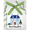 Personalized Christmas Ornament - Blue House THUMBNAIL