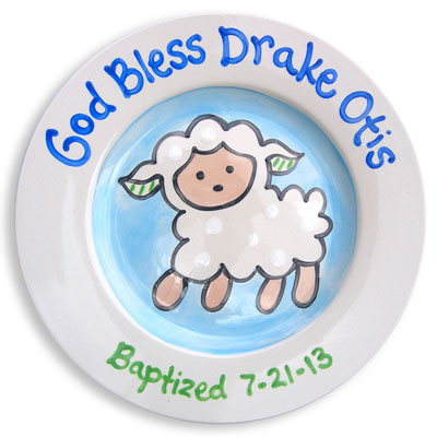 Personalized Baptism Plate for Boy - God Bless… Sheep - 10""