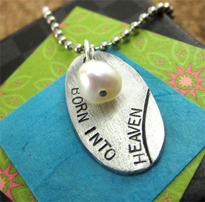 Born into Heaven Necklace in Pewter LARGE