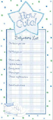 'How Cute!' Magnetic Babysitter's List - Blue LARGE