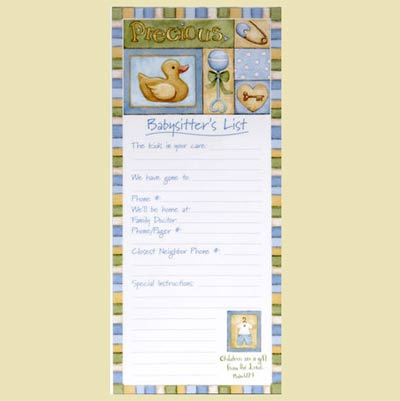Precious Magnetic Babysitter's List - Blue