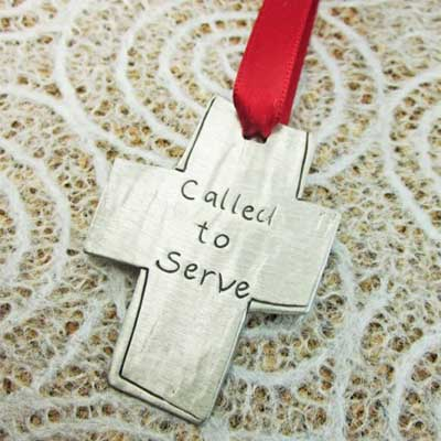 Called to Serve Pewter Ornament LARGE