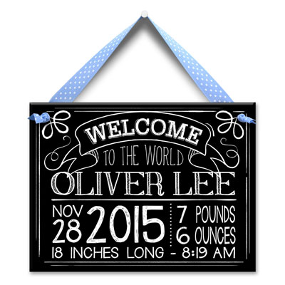 Personalized Birth Tile for Boy - Chalk & Blue LARGE