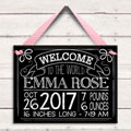 Personalized Birth Tile for Girl - Chalk & Pink THUMBNAIL