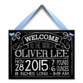 Personalized Birth Tile for Boy - Chalk & Blue THUMBNAIL