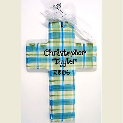 Personalized Cross - Turquoise/Olive Plaid