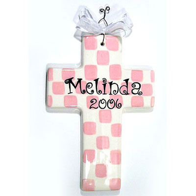 Personalized Cross - Checkered Pink