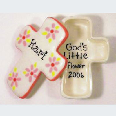 Personalized Ceramic Cross Box - White with Pink Flowers