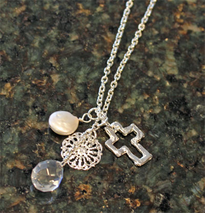 Handcast Silver Open Cross with Coin and Pearl Necklace LARGE